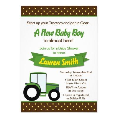 Tractor Baby Baby Shower Invitations Baby Shower Invitations