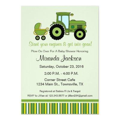 Tractor Baby Shower Invitations green