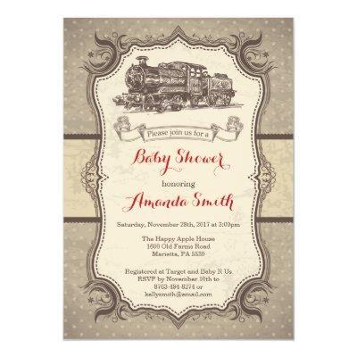 Train Baby Shower Invitation Vintage Retro
