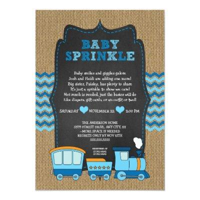 TRAIN BOY baby sprinkle / burlap chalkboard RUSTIC Invitations