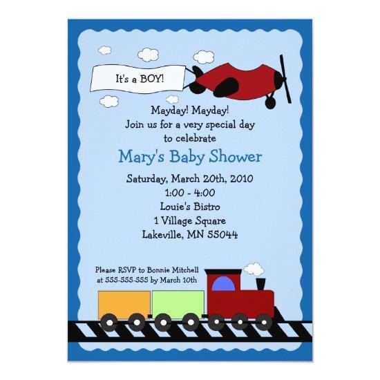 train & plane cute boy baby shower invitations | baby shower, Baby shower invitations