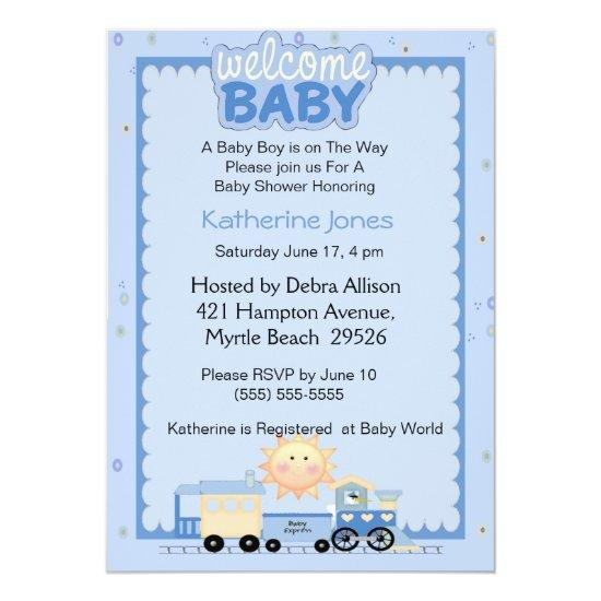 Train Welcome Baby Shower Invitation