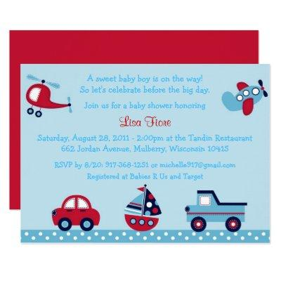 Transportation Baby Shower Car Truck Airplane Invitation