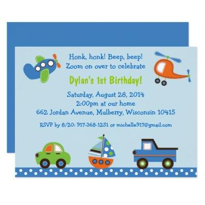 Transportation Car Truck Airplane 1st Birthday Invitations