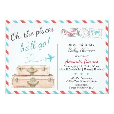 Travel Baby Shower Invitations, Airplane Invites