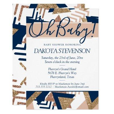 Trendy 90s Abstract | Navy Blush Oh Baby Shower Invitation