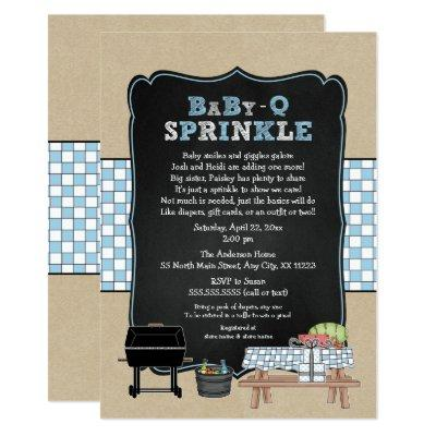 Trendy Baby Q Sprinkle for boy baby shower Invitations