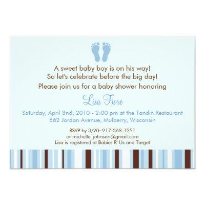 Blue foot print baby shower baby shower invitations baby shower trendy blue baby feet filmwisefo
