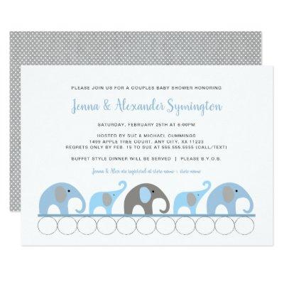 Trendy Blue Gray Elephant boy baby shower Invitation