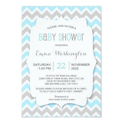 Trendy Blue Grey BOY Baby Shower Invitations