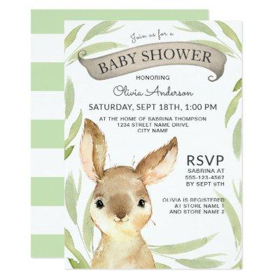 Trendy Bunny Rabbit Theme Baby Shower Invitation