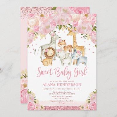 Trendy Cute Baby Girl Safari Jungle Animals Shower Invitation