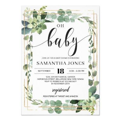 Trendy greenery succulent floral oh baby shower invitation