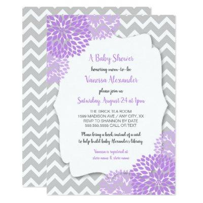 Trendy Lavender Gray Floral Baby Shower Invite