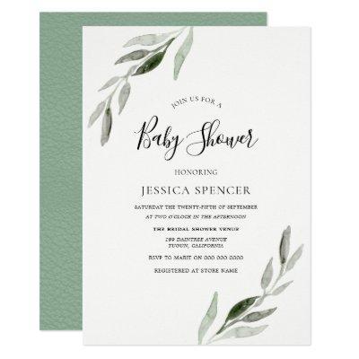 Trendy Modern Green Leaf Baby Shower Invite