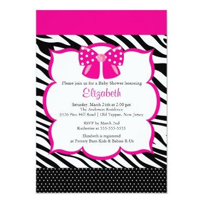 Trendy PInk Zebra Frame Baby Shower Invitation