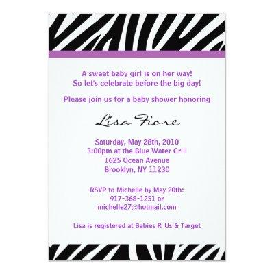 purple zebra baby shower baby shower invitations  baby shower, Baby shower invitations