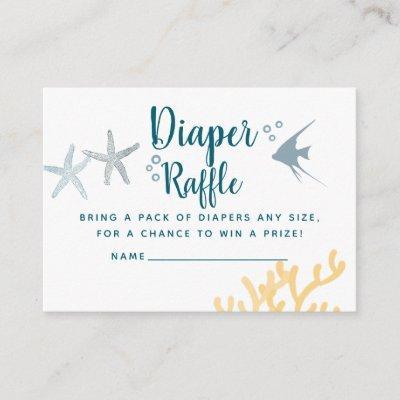 Trendy Under the Sea Baby Shower Diaper Raffle Enclosure Card