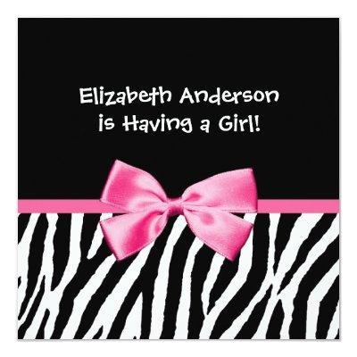 Trendy Zebra Print and Pink Ribbon Baby Shower Invitation