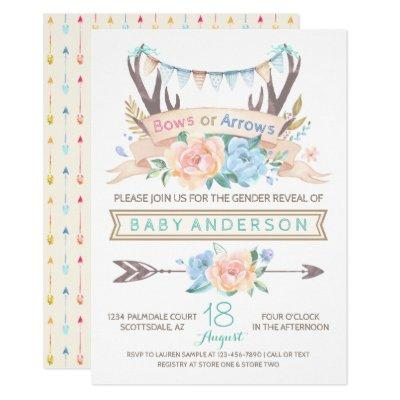 Tribal Antler Boho Gender Reveal Invitation