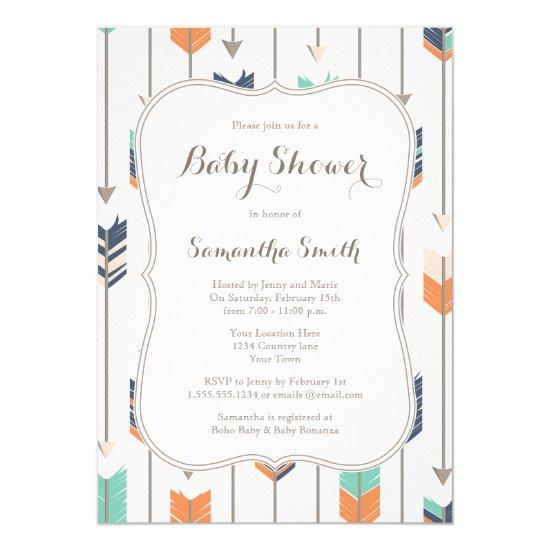 Tribal Arrows Baby Shower Navy Orange Teal Invitations
