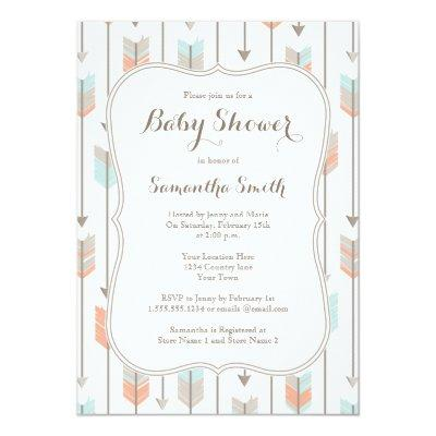 Tribal Arrows Boy Baby Shower Invitation