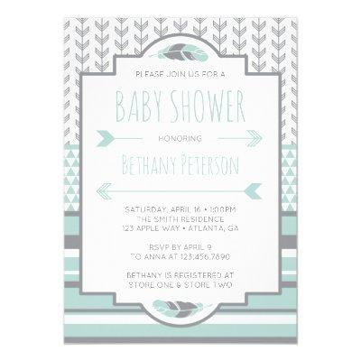 Tribal Baby Shower Invitation, Aztec, Arrows, BOHO Invitation