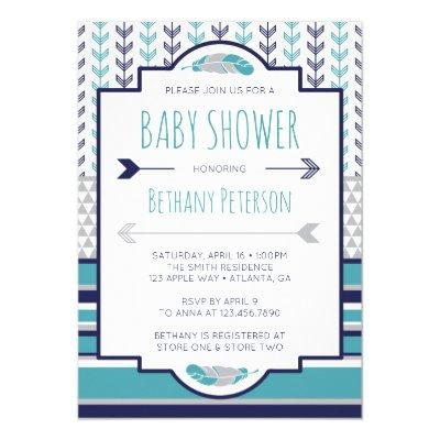 Tribal Baby Shower Invitations, Aztec, Arrows, BOHO Invitations
