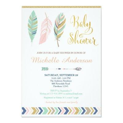 Tribal Baby Shower Invitations / Boho Baby Shower
