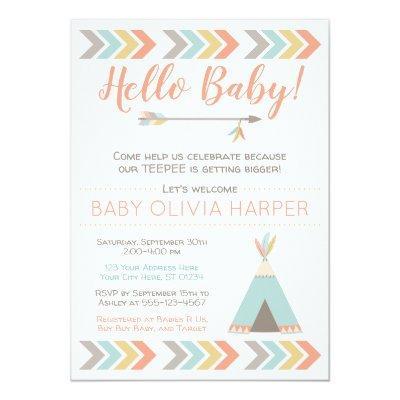 Tribal Baby Shower Invitation | Teepee Sprinkle