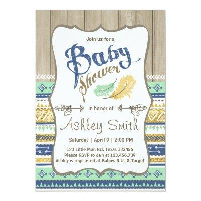 Tribal Baby Shower Rustic Baby Shower Blue Gold Invitations
