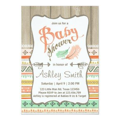 Tribal Baby Shower Rustic Baby Shower Coral Gold Invitations
