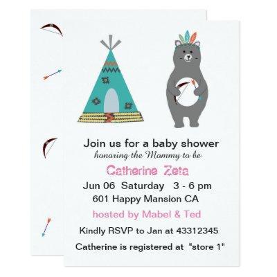 Tribal Bear Baby Shower Card