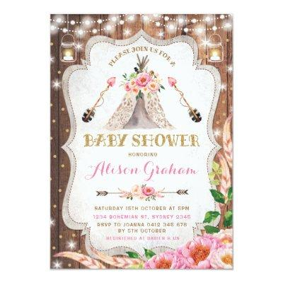 Tribal Boho Baby Shower Invitations Floral Teepee