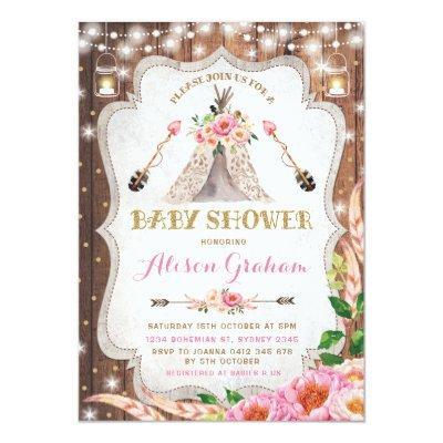 Tribal Boho Baby Shower Invitation Floral Teepee