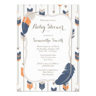 Tribal Feather Arrows Baby Shower Navy Orange Invitation