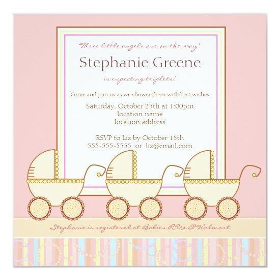 Trio carriage triplet girl baby shower invitations trio carriage triplet girl filmwisefo
