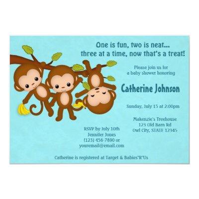 TRIPLET Monkeys Baby Shower Invitations BLUE MM2