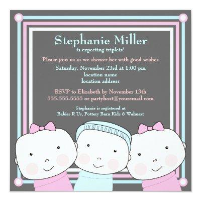Triplets Girl Boy Pink Blue Baby Shower Invitations