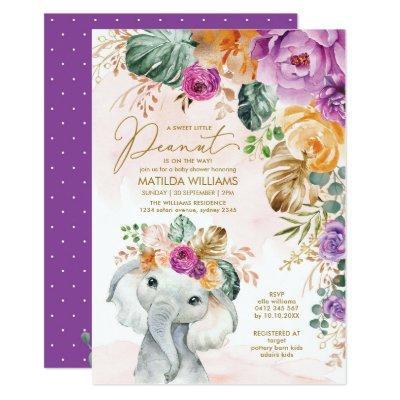 Tropical Apricot Violet Floral Elephant Shower Invitation