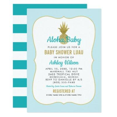 Tropical Blue Baby Shower Luau   Gold Pineapple Invitation
