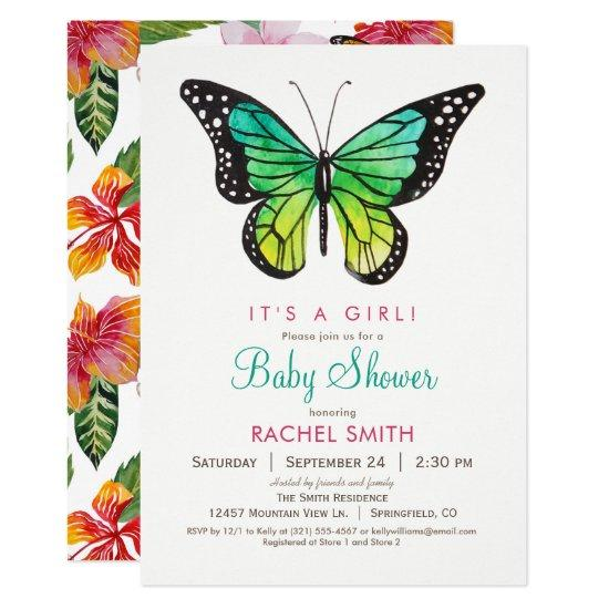 Tropical Butterfly Girl Baby Shower Invitation