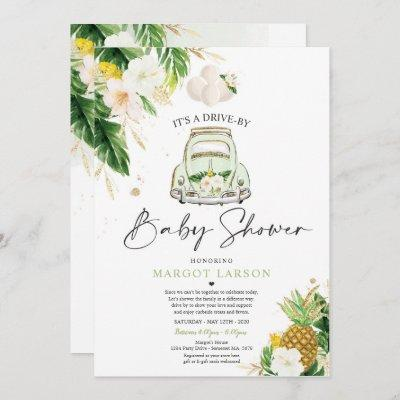 Tropical Drive By Baby Shower Pineapple Drive Thru Invitation