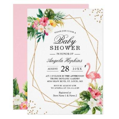 Tropical Floral Gold Glitters Flamingo Baby Shower Invitations