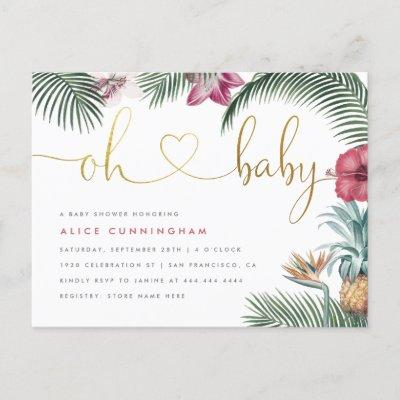 Tropical Foliage Oh Baby Gold Script Baby Shower Invitation Postcard