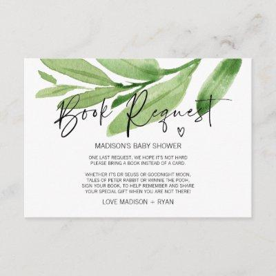 Tropical Gender Neutral Baby Shower Book Request Enclosure Card