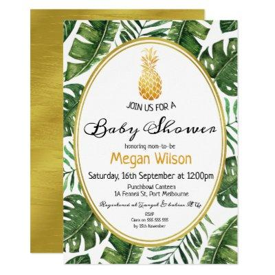 Tropical Gold Pineapple Baby Shower Invitation