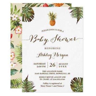 Tropical Leaves Pineapple Summer Baby Shower Invitation