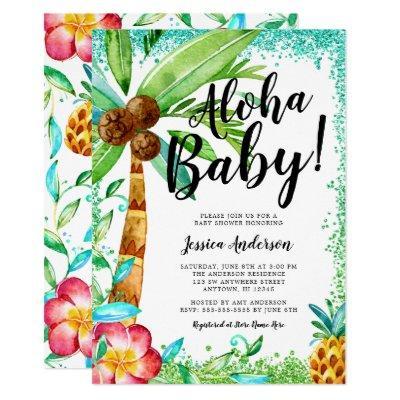 Tropical Luau Watercolor Faux Glitter Baby Shower Invitation