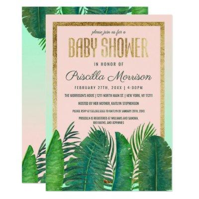 Tropical Palm Tree Banana Leaf Gold Baby Shower Invitation